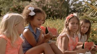 Five children eating watermelon in park