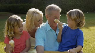 Grandparents and grandchildren sitting together in garden playing with ice cream.