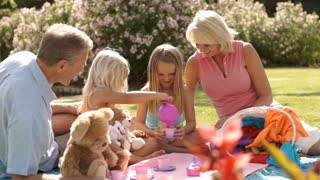 Grandparents and two granddaughters having teddy bears picnic in park.