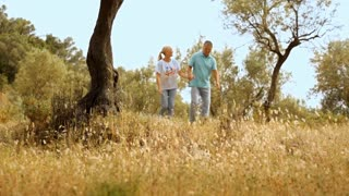 Mature couple walking in countryside