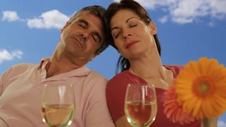 mid aged couple with wine glasses