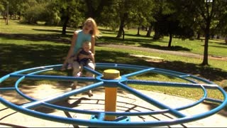 Mother and Baby in Park in roundabout