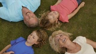 Overhead shot of grandparents and grandchildren lying on grass in garden.