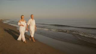 pan shot of senior couple walking on beach