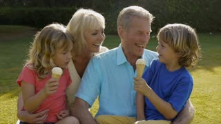 Slow motion of grandparents and grandchildren sitting together in garden playing with ice cream.
