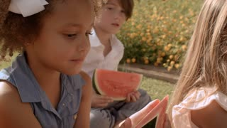 Two children eating watermelon in park