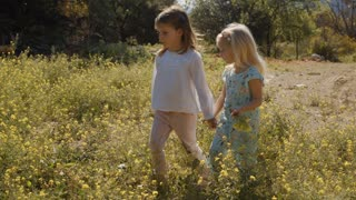 Two children walking through wild flowers