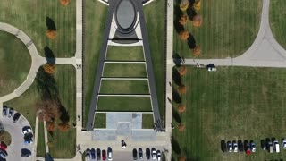 aerial downward view fly over the WWI museum in Kansas City