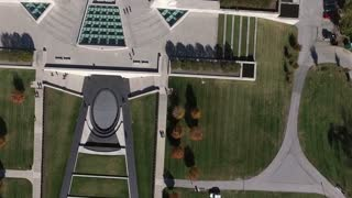 aerial downward view of the WWI museum in Kansas City