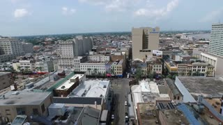 aerial panning shot of downtown New Orleans