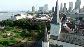 Aerial view circling the St. Louis Cathedral New Orleans