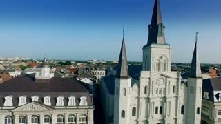 aerial view from Cabildo to Saint Louis Cathedral New Orleans
