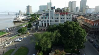 aerial view from french quarter to trolley cars at mississippi river new orleans