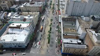 Aerial view of famous Canal Street New Orleans LA and horizon