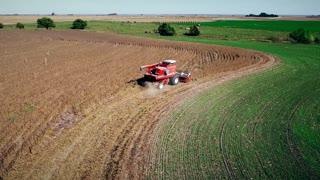 aerial view of soybean harvest in Kansas