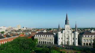 aerial view pull back from Saint Louis Cathedral New Orleans