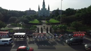 aerial view push into jackson square new orleans