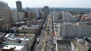 aerial view traveling down Canal Street in New Orleans