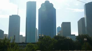 backlit skyrise buildings in Houston Texas 4k.