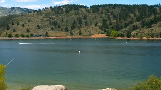 boating in Horsetooth Reservoir Colorado 4k.