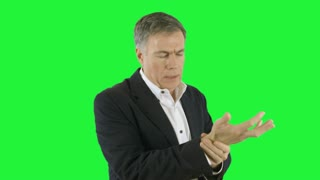 businessman with wrist pain green screen