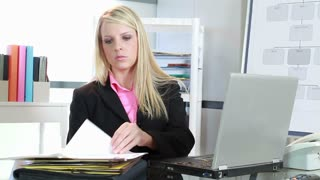Businesswoman thinking about a problem