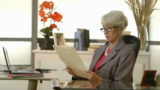 businesswoman working on paperwork at her desk