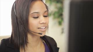 call center girl closeup