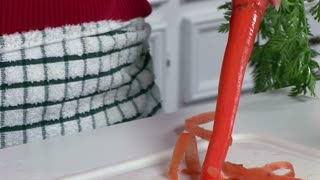 cleaning carrots closeup