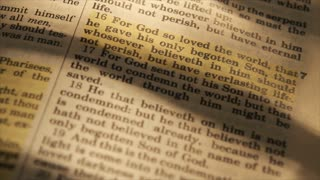 closeup John 16 in bible