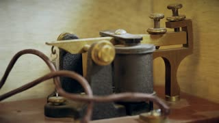 closeup of a morse code telegraph sender receiver 4k