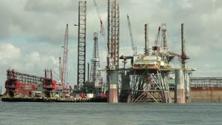 Closeup oil platform in Galveston