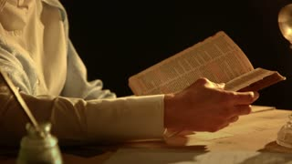 closeup victorian woman reading bible