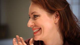 closeup woman laughing