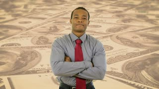 corporate professional on money background