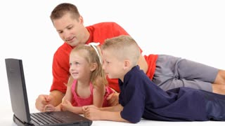 dad and kids laptop