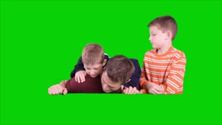 Dad and Kids Popup Green Screen