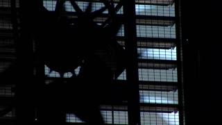 dark industrial fan in a warehouse
