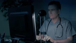 doctor working night blue