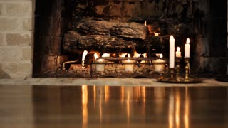 dolly fireplace reflections