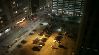 downtown parking lot at night
