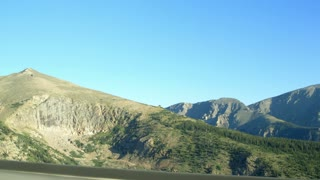 driving along a mountain road.