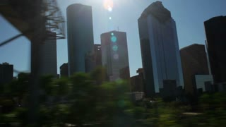 driving downtown Houston corporate buildings
