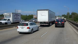 Driving in extremely heavy traffic on I10 in Baton Rouge Louisiana. Editorial