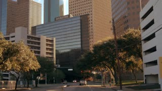 Driving into busy downtown Houston