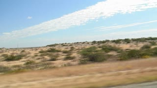 driving through a desert in south Texas