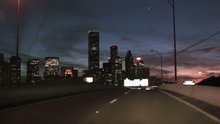 driving toward Houston at night