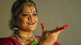 expressions of a traditional Indian dancer