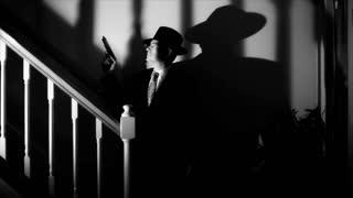 film noir gunman walking up stairs