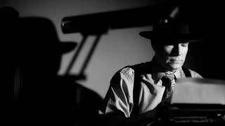 film noir reporter typing